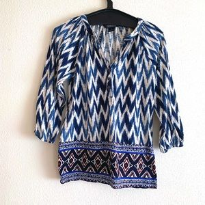 Lucky Brand Blue White Tribal Print Button Up Top